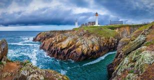 Lighthouse Pointe de Saint-Mathieu, Brittany Bretagne, France.  royalty free stock photos