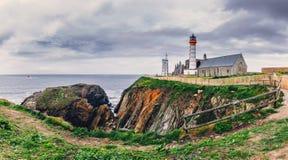 Lighthouse Pointe de Saint-Mathieu, Brittany Bretagne, France.  stock photo