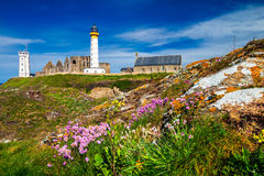Lighthouse Pointe de Saint-Mathieu, Brittany Bretagne, France.  stock image