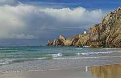 Lighthouse Pointe de Toulinguet, France Royalty Free Stock Photos