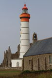 Lighthouse of Pointe Saint Mathieu in Brittany Stock Photo