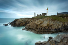 Lighthouse of Pointe Saint Mathieu in Plougonvelin, Brittany, Fr Royalty Free Stock Image