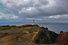 Lighthouse of Ponta da Barca. The lighthouse of Ponta da Barca started operating on February 1, 1930 and is located in Ponta da Barca north-west of Ilha Graciosa royalty free stock photography