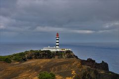 Lighthouse of ponta da barca. The lighthouse of Ponta da Barca started operating on February 1, 1930 and is located in Ponta da Barca north-west of Ilha Graciosa stock photography