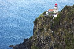 Lighthouse on Ponta do Arnel, Nordeste, Sao Miguel Island, Azores Islands, Portugal. Stock Images