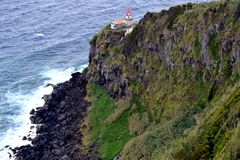 Lighthouse Ponta do Arnel in Sao Miguel island, Azores. Portugal royalty free stock photo