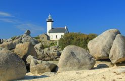 Lighthouse Pontusval, Brittany, France Royalty Free Stock Image