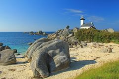 Lighthouse Pontusval, Brittany, France Royalty Free Stock Photography