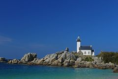 Lighthouse Pontusval, Brittany, France Stock Photography