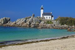Lighthouse Pontusval, Brittany, France Stock Images