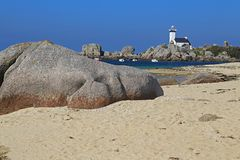 Lighthouse Pontusval, Brittany, France Stock Photos