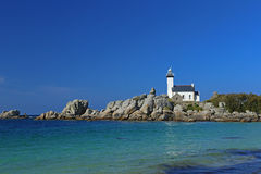 Lighthouse Pontusval, Brittany, France Stock Image