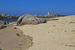 Lighthouse Pontusval, Brittany, France Royalty Free Stock Photos