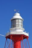 Lighthouse of Port Adelaide. The top of the Port Adelaide lighthouse painted in brilliant red and white Royalty Free Stock Photography