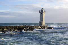 Lighthouse at the port of Akranes, Iceland Royalty Free Stock Photos