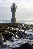 Lighthouse at the port of Akranes, Iceland Royalty Free Stock Photography