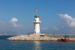 Lighthouse in the port of Alanya, Royalty Free Stock Images