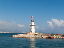 Lighthouse in the port of Alanya Royalty Free Stock Photo