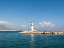 Lighthouse in the port of Alanya Royalty Free Stock Photos