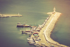 Lighthouse in port Alanya, Turkey. Mediterranean sea. Filtered image:cross processed vintage effect Stock Image