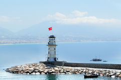 Lighthouse in port Alanya, Turkey Stock Image