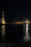Lighthouse, port and the city of Chania Stock Photo