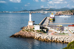 Lighthouse and port of Ibiza town Royalty Free Stock Images