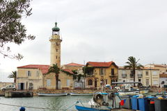 Lighthouse in port of Le Grau-du-Roi, France Royalty Free Stock Photo