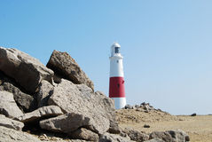 Lighthouse at Portland from quarry Stock Photo