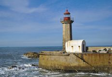 Lighthouse in Porto. An old lighthouse in Porto Stock Photo