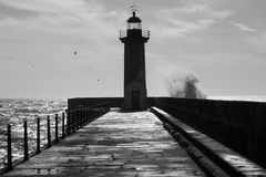 Lighthouse, Porto Portugal Royalty Free Stock Photo