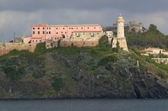 Lighthouse of Portoferraio in Portoferraio, Province of Livorno, on the island of Elba in the Tuscan Archipelago of Italy, Europe, Royalty Free Stock Photos