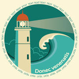 Lighthouse poster label for text Stock Photo