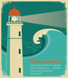 Lighthouse poster for text on old paper Royalty Free Stock Photo
