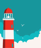 Lighthouse poster.Vector seascape background Royalty Free Stock Photo