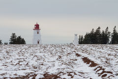 Lighthouse Beside Potato Field in Winter Royalty Free Stock Images