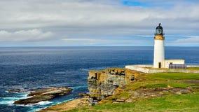 Lighthouse powered with solar energy, Westray, Orkney islands, Scotland stock photo