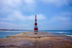 Lighthouse on the sea at Aguda, Portugal royalty free stock photos