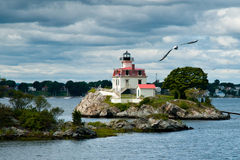 Lighthouse in Providence Guides Mariners Royalty Free Stock Images