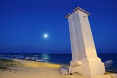 Lighthouse Puerto Morelos night moon sea Stock Photos