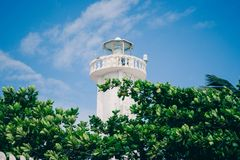 Lighthouse in Puerto Morelos, Quintana Roo, Mexico. stock image