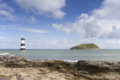Lighthouse and Puffin Island Stock Photos