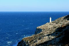 Lighthouse in the quiet. Blu ocean. A holiday immersed in the blue of the Mediterranean Sea Royalty Free Stock Images