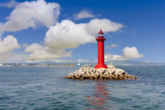 Lighthouse. Red lighthouse and clear sky stock photo