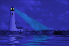 Lighthouse Reflection. Lighthouse at night with reflection in water Royalty Free Stock Photos