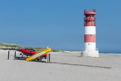 Lighthouse and rescue boats at beach of Dune, island near Helgoland, Germany stock image