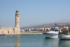 Lighthouse in Rethymno, Crete Royalty Free Stock Images
