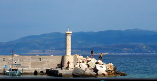 Lighthouse In Rethymno Crete Greece Stock Photo
