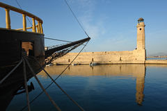 Lighthouse in rethymno harbor. From crete island Stock Photography