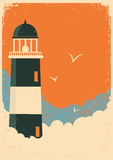 Lighthouse retro poster on old paper Royalty Free Stock Photo